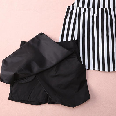 - 2015 Kids Baby Girls Vertical Stripe Sleeveless Tops Blouse Black + Short Pants 2pcs Outfits Summer Clothes 2~7Y -   jetcube