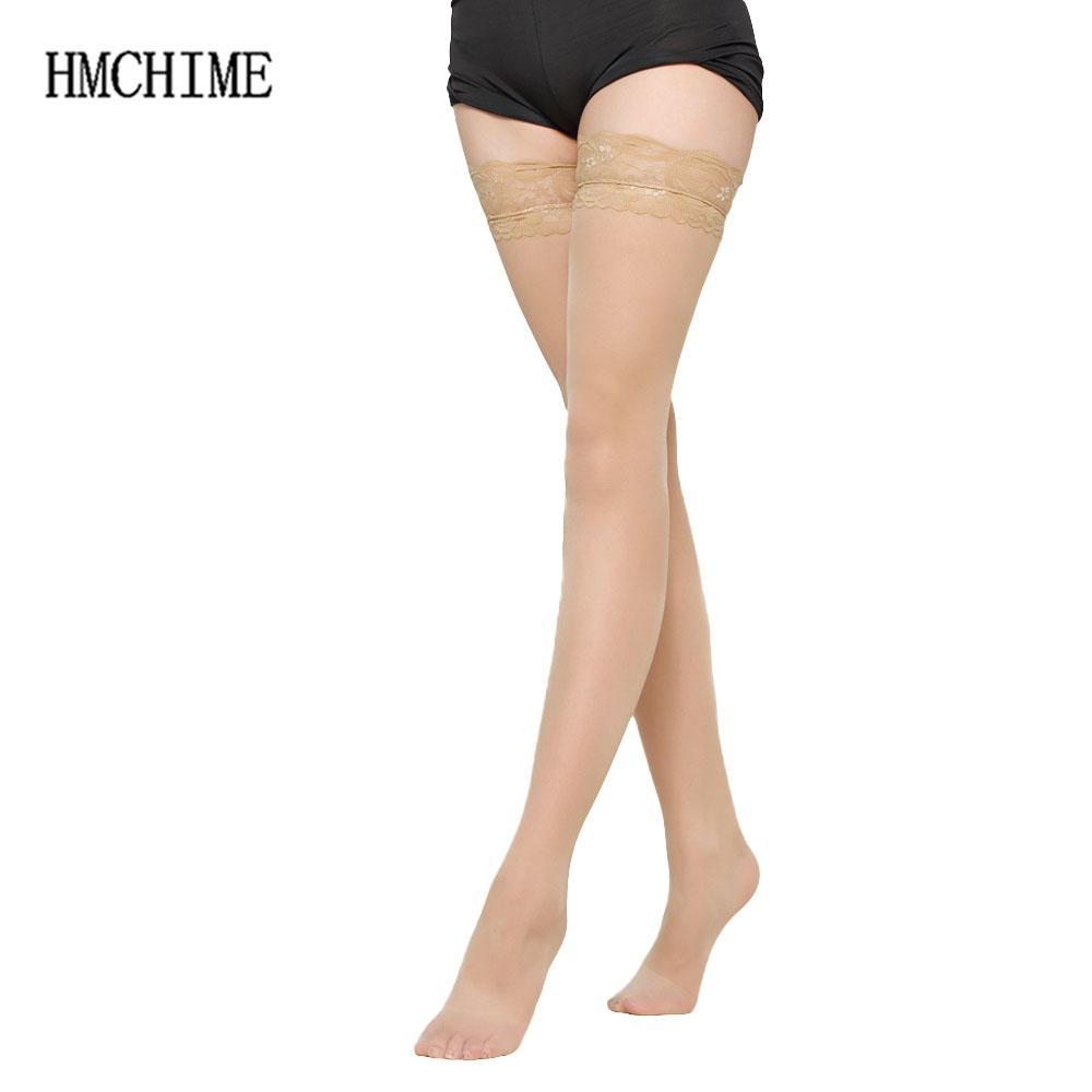 7 colors Thigh High Sexy Stockings Lace Silicone Stay Up Transparent Pantyhose For Women Medias Over The Knee Socks ZB-H005
