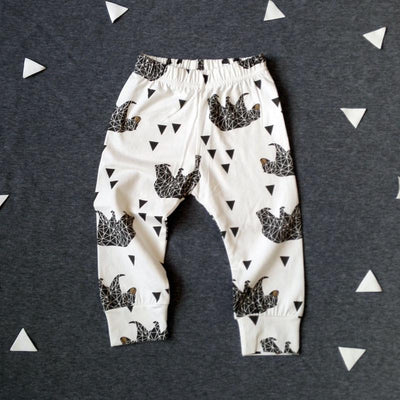 - 0-2T Spring Autumn Baby boy and girl pants Cotton Stripes & Grids &Geometry Printing girl leggings Baby boy trousers Harem pants - Beige / 12M  jetcube