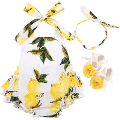 - 0-1 Year First Birthday Baby Show Floral Baby Clothes Girls Cute Headband Bebe Shoes 3 PCS set;Props Cotton Baby Rompers Overall - 7E3042 / 12M  jetcube