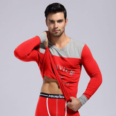 - (Shirt + Pant) Men Thermal Underwear Cotton Printing Underwear Warm Quality Sleep Sets Top And Leggings Men Long Johns Set -   jetcube