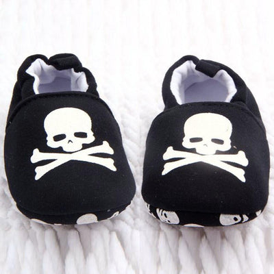 - 0-12M Toddler Baby Skull Pirate Printed Casual Shoes Soft Bottom Girl Boys Shoes New Sales - Black / 1  jetcube