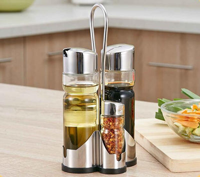 - (4pcs/Set) Classical Stainless Glass Oil Soy Sauce Vinegar Bottle Pepper Salt Spice Jars -   jetcube
