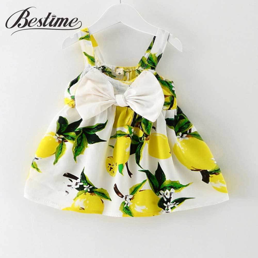 - 0-24Months Summer Baby Dress Lemon Print Infant dresses Cotton Sleeveless Princess Birthday Dress for Baby Girl Clothes - Yellow / 12M  jetcube