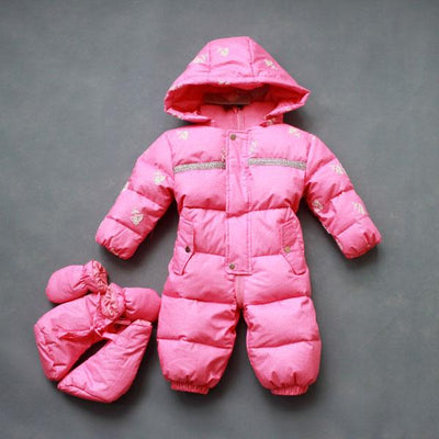 - 0-2 years old baby winter down jumpsuit Down climb clothes with cap Snowflakes stripe splicing - Pink / 12M  jetcube