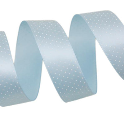 - (5 yards/lot) Small Dots Printed Satin ribbon lovely series ribbons wholesale (25mm&40mm) - Light Blue / 25mm  jetcube