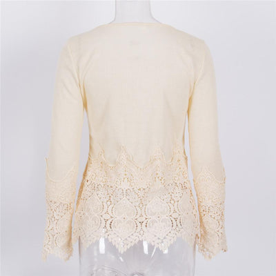 2016 New Arrive Plus Size Lace Tops Flower Crochet Lace Blouse