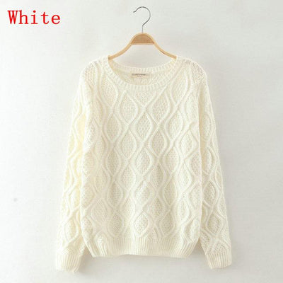- 12 Color ! Hot New Autumn Winter Women Fashion Cotton Elastic Sweater Lady Knitted Long Sleeve O-neck Woolen Pullovers - 012White / L  jetcube
