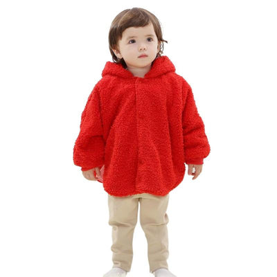 - 0-24M Newborn Baby Boys Girls Warm Hooded Coat Winter Fur Cloak Long Sleeve Jacket Kids New Arrival Clothes - Red / 12M  jetcube