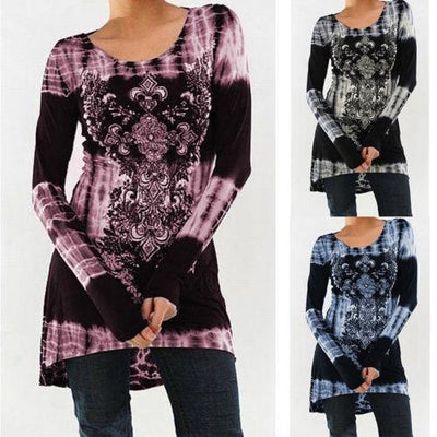2017 Autumn Casual Long Sleeve T Shirt Women Fashion O-neck Printing T-shirt Slim High Waist Tie Dye Tops
