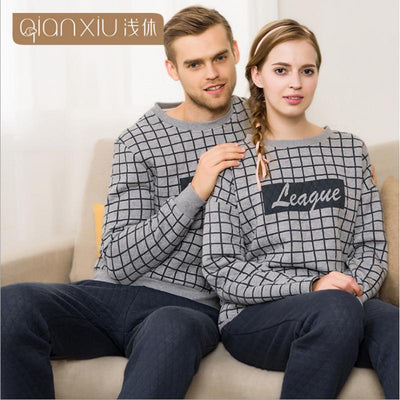 2017 Autumn Brand Homewear Couples Casual Fashion Pajamas sets Men Cotton O-neck collar Sleepwear suit Male Plaid shirts + pants  dailytechstudios- upcube