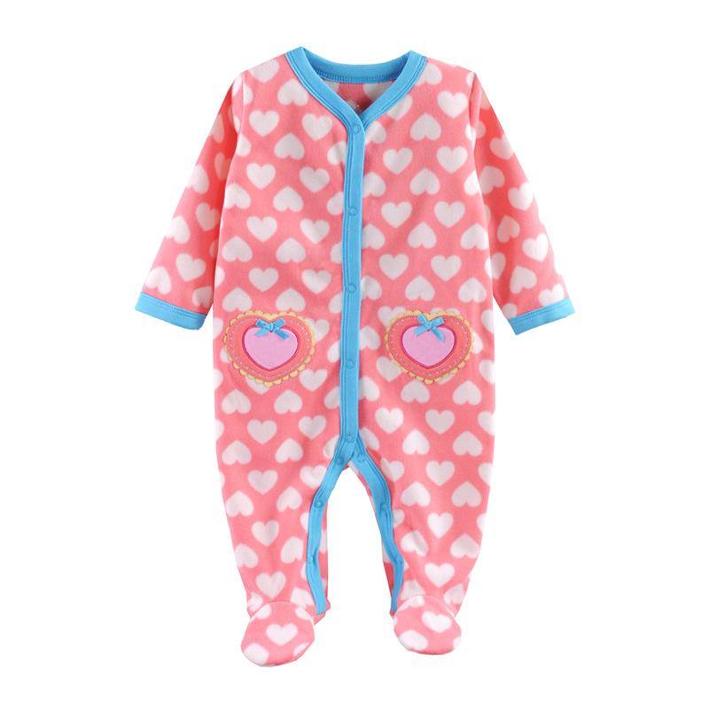 - 0-12M Autumn Fleece Baby Rompers Cute Pink Baby Girl Boy Clothing Infant Baby Girl Clothes Jumpsuits Footed Coverall V20C - MKBCROGL001P49 / 12M  jetcube