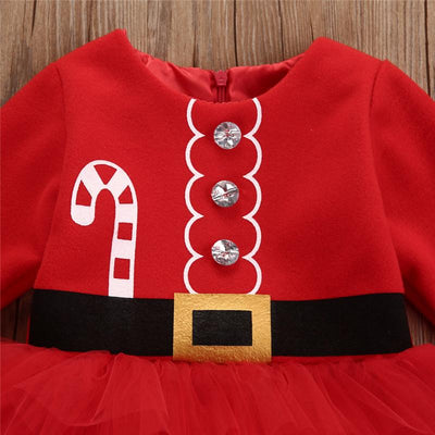 2017 Autumn Baby Girls Fashion Dress Newborn Baby Girl Long Sleeve Christmas Party Santa Claus Print Tulle Dress Outfits Costume