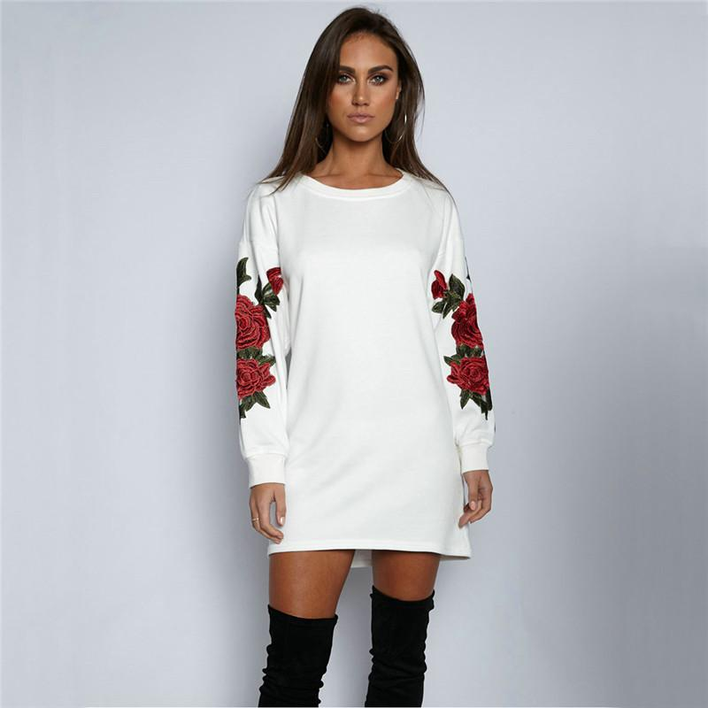 DARSJUCBD 2018 New Autumn Hoodies Sweatshirts Women Embroidered Flowers Long Sleeve Pullovers Tops White Black