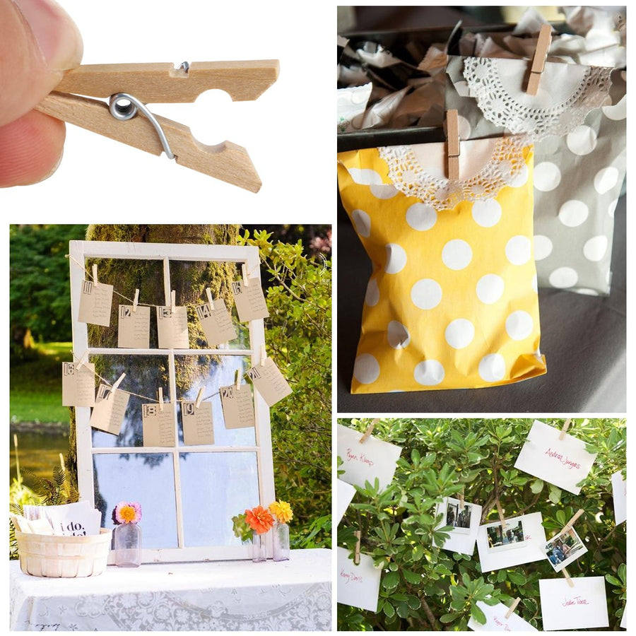 - 100pcs 3cm Mini Natural Wood Clip Mini Craft Pegs Cloth Photo Hanging Spring Clips Pinch Office School Supply - Default Title  jetcube