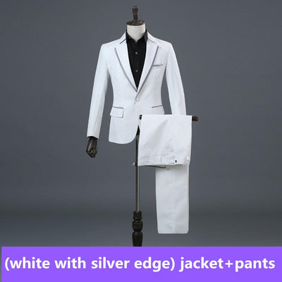 - (Jacket+Pants) Men's Champagne Business Wedding Stage Show Dress Slim Suit Costume Mens Classic Suits -   jetcube