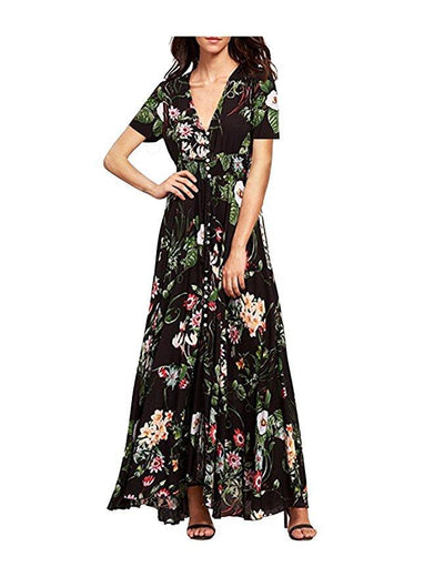 Bohemia Floral Print Long Women Dress Beach Ladies Sexy Summer Button Boho Maxi  Dress Vintage Party 2ea20ab2e2b6