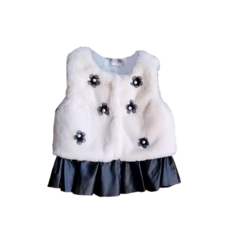 2017 Autumn Winter 0-5T Baby Girls Clothes Faux Fur Flower Warm Comfortable Vest Cute Kawaii Outerwear