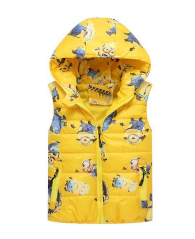 - 2-8 yrs 2017 New Baby boys girls autumn winter vest coat Kids warm outerwear children Jacket fashion cartoon waistcoat hooded - Yellow / 5  jetcube