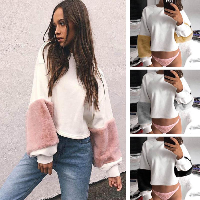 New 2017 Fashion Women Casual Plush Long Sleeve O-neck Loose Hoodie Velvet Patchwork Pullover Tops