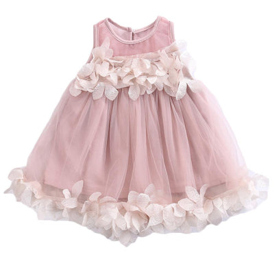 - 0-7Y Toddler Kids Baby Girls Pricness Bridesmaid Pageant Wedding Tulle Formal Party Dress Lace Floral Mesh Mini Dresses Sundress - Pink / 12M  jetcube