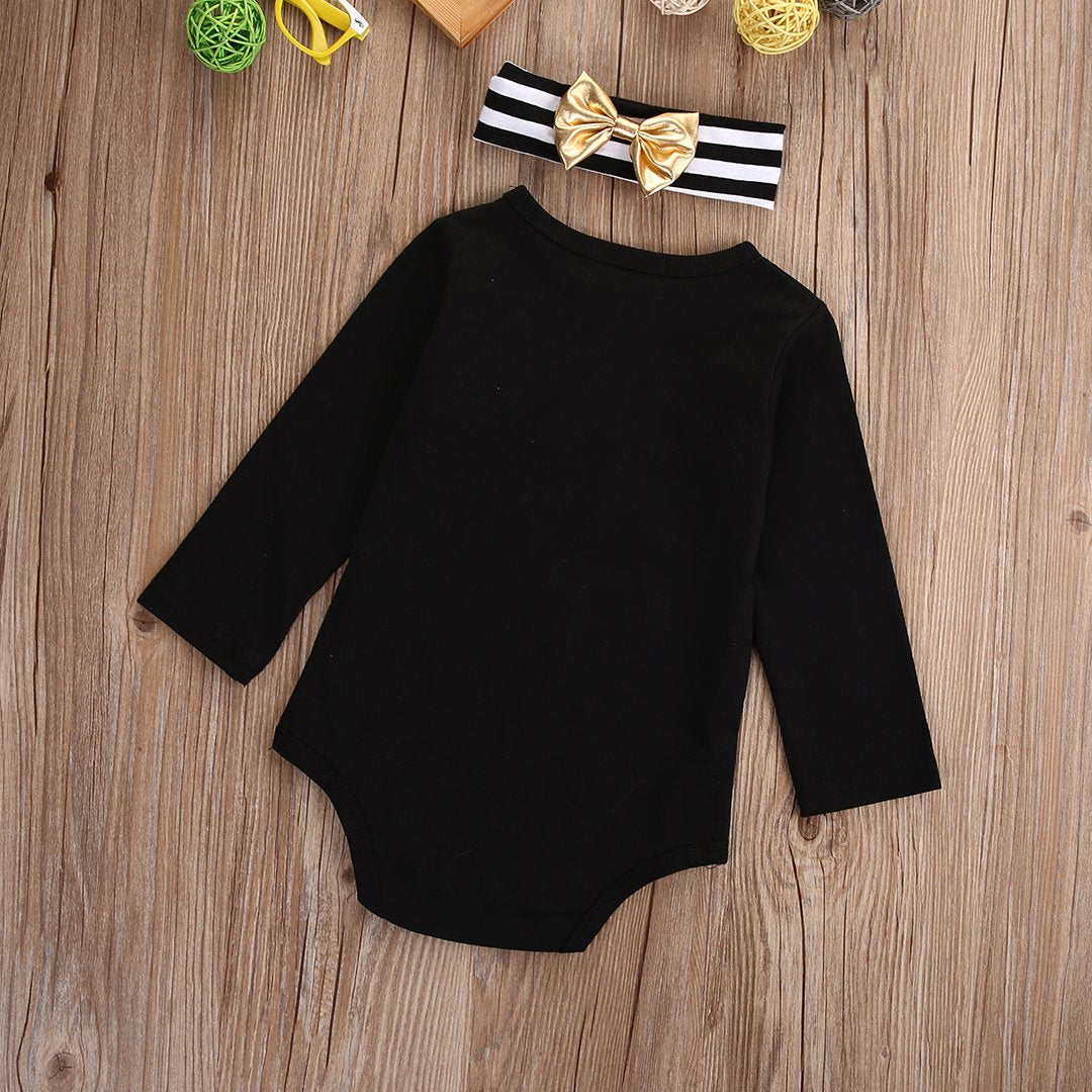 - 0-18M Newborn Baby Girl Clothes Long Sleeve Cotton Bow Bodysuit Jumpsuit Headband Outfits Clothing -   jetcube