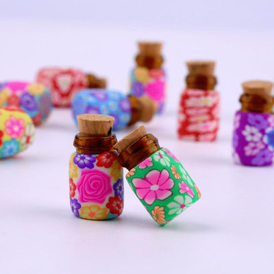 - 10 pcs Mini Glass Polymer Clay Bottles Containers Vials With Corks new arrival Can put in some powder or Beads & Jewellery -   jetcube