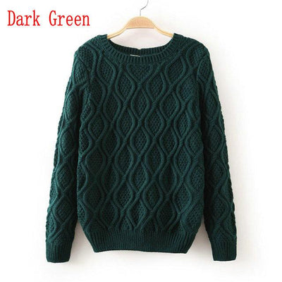 - 12 Color ! Hot New Autumn Winter Women Fashion Cotton Elastic Sweater Lady Knitted Long Sleeve O-neck Woolen Pullovers - 012Dark Green / L  jetcube