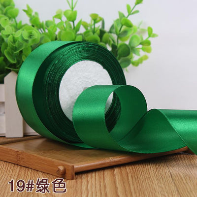 - (25 yards/roll) 2'' (50mm) single face Satin Ribbon Gift Packing Christmas Ribbons Wedding Party Decorative DIY Crafts supplies - green  jetcube