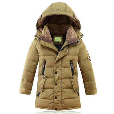 - -30 Degree Children's Winter Jackets Duck Down Padded Children Clothing 2018 Big Boys Warm Winter Down Coat Thickening Outerwear - Army Green / 10  jetcube