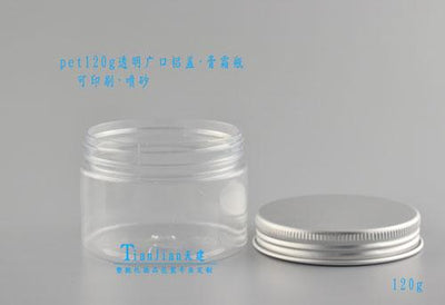 - 120ML Transparent Clear Bottle PET Jar 120G Aluminum Lid Plastic Bottle Mask Cream Jar -   jetcube
