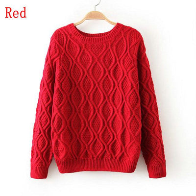 - 12 Color ! Hot New Autumn Winter Women Fashion Cotton Elastic Sweater Lady Knitted Long Sleeve O-neck Woolen Pullovers - 012Red / L  jetcube