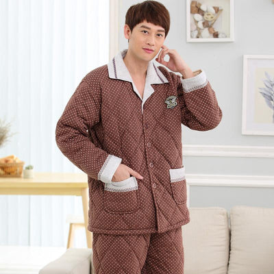 - -25 Degree ! 2017 winter quilted jacket men's pajamas overalls new year's knitting fashion pyjamas for male plus size trackauit -   jetcube