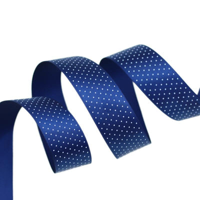 - (5 yards/lot) Small Dots Printed Satin ribbon lovely series ribbons wholesale (25mm&40mm) - Dark Blue / 25mm  jetcube