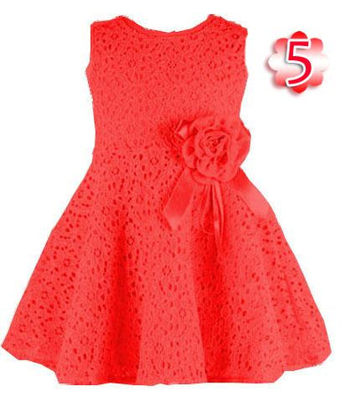 - 0-2 Years New Gift Summer Lace Vest Girls Dress Baby Girl Cotton Dress Chlidren Clothes Kids Party Clothing For Girls - Red / 12M  jetcube