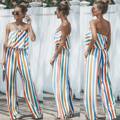 New Off Shoulder Sexy Striped Jumpsuits One Piece Backless Club Rompers Women's Jumpsuit Strapless Full Bodysuit Summer Overalls