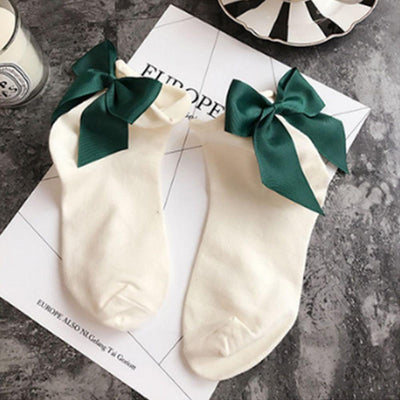 - 1 Pair Fashion Style Women Cotton Socks with Big Bow Solid Casual Female Short Socks Cute BowKnot chausette femme - Beige  jetcube