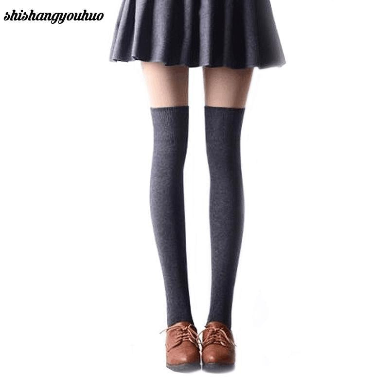 e4eb2e2638ad7 1 Pair 5 Solid Colors Fashion Sexy Warm Thigh High Over the Knee Socks Long