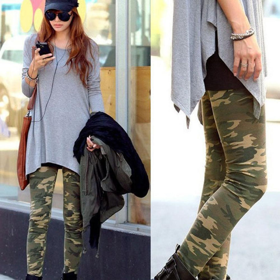- 1 PC 2018 Hot Sale Fashion Popular Women Sexy Camo Camouflage Stretch Trousers Army Green Slim Tights Pants -   jetcube