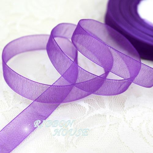 - (50 yards/roll) 1/2''(12mm) organza ribbons wholesale gift wrapping decoration Christmas ribbons - Purple  jetcube