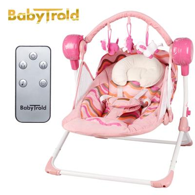- 0-18 month newborn Brand Cradle Electric Music Rocking Chair Automatic swing Sleeping Basket Golden Frame 8GB Bluetooth USB - pink  jetcube