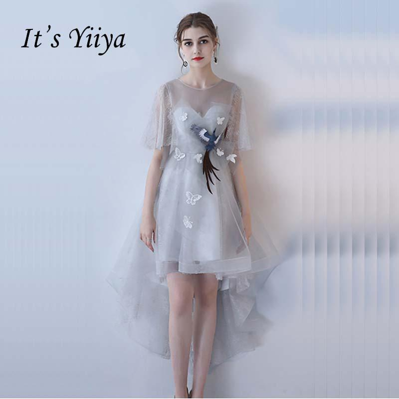 Its Yiiya Half Sleeves Illusion Tulle Backless A Line Zipper Formal