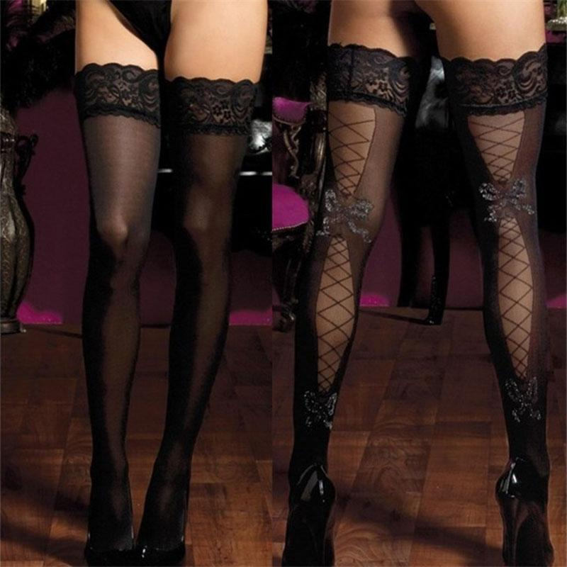 d36736df96ac0 2017 New Brand Women Sexy Stockings Thigh High Print Bow Lace nylon Top  Ultra Sheer Knee