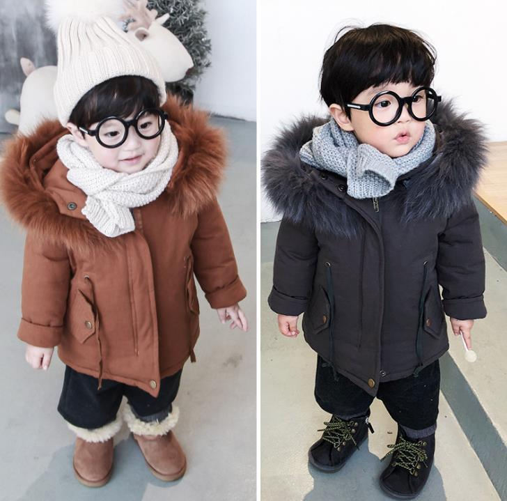 - 0-2years Wholesale 2018 Winter babys Cotton Solid brown black Coat (pick size color) -   jetcube