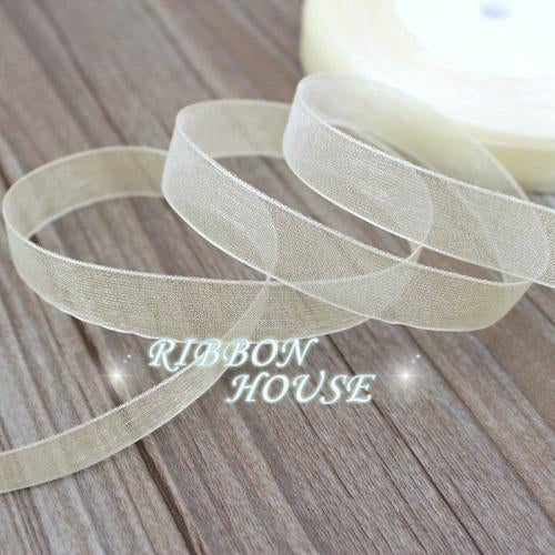 - (50 yards/roll) 1/2''(12mm) organza ribbons wholesale gift wrapping decoration Christmas ribbons - Beige  jetcube