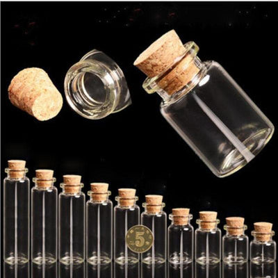 - 100pcs New Arrival Small Cute Cork Stopper Glass Bottle Vials Jars Containers Wedding Small Wishing Bottle Glass with Cork S020B -   jetcube