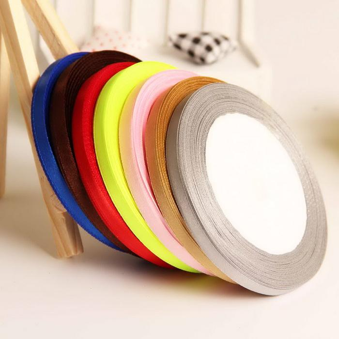 - (25 yards/roll ) 6mm Single Face Satin Ribbon Wholesale Gift Packing Christmas Ribbons -   jetcube