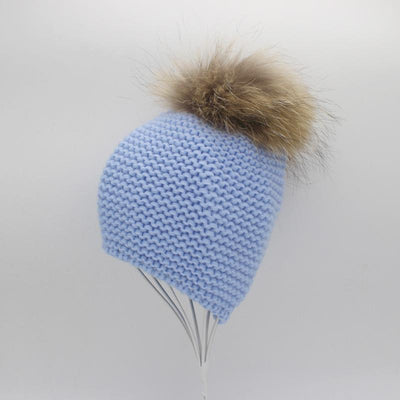 - 2016 Fashion Knitted Baby Hats Boy Winter Outdoor Ear Protection Beanies Caps Pom pom Real Fur Hat Kids - Blue  jetcube