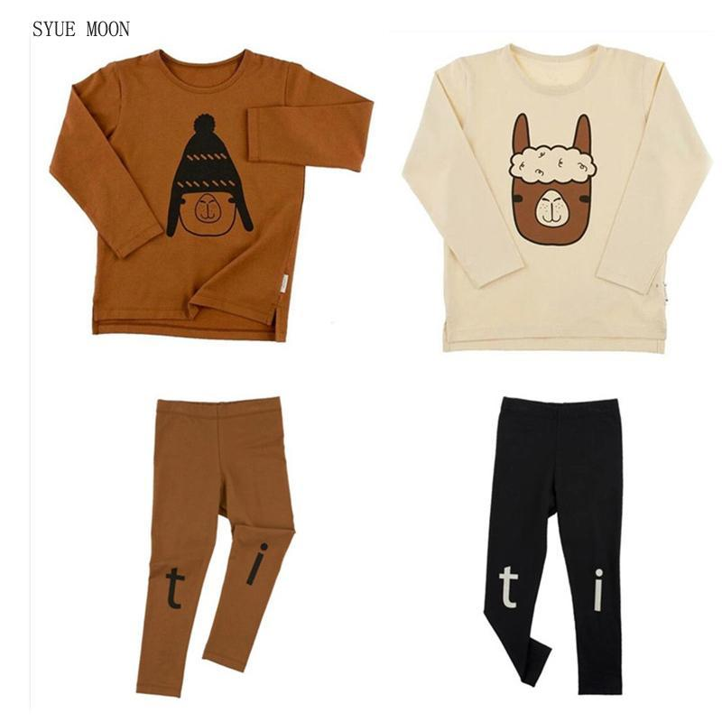 2017 Autumn Tiny Cotton boys girls sets kids long sleeve t-shirts +pants baby boys children Alpaca Printing clothes sets