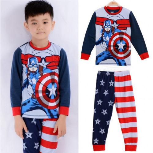 Captain America Baby Kids Boys Clothes Sleepwear Pyjama Pajamas 2 pcs Set 2T-7T  dailytechstudios- upcube